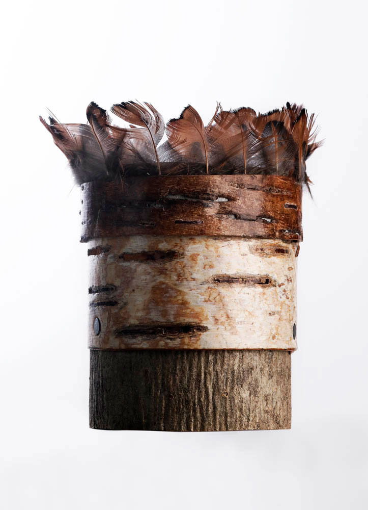 Bark-pot-with-turkey-feather-rim
