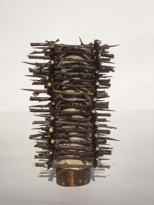 Birch bark pot clad in thorn tower Ht 12 x w 6 cms £45.00