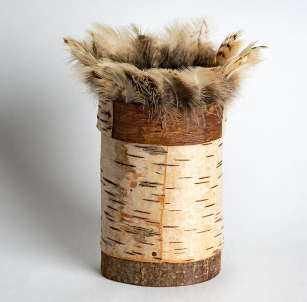Birch bark pot with kestrel feather rim Ht 21 x w 11 cms £ 68.00