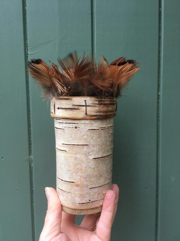 Birch bark vessel with found feathers Ht 18 x Wdth 7 cms £ 48.00