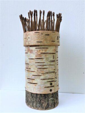 Birch bark vessel with pine needle rim Ht18 x w 7 cms £48.00