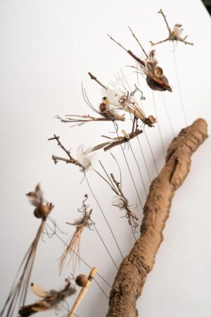 Flight of 13 insects on a wooden base h 35 x w 68 cms £120.00