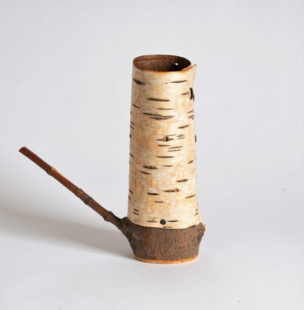 Silver birch bark pot and wooden base in shape of a teapot ht 16 x w 15 x dpth 5 cms £ 52.00