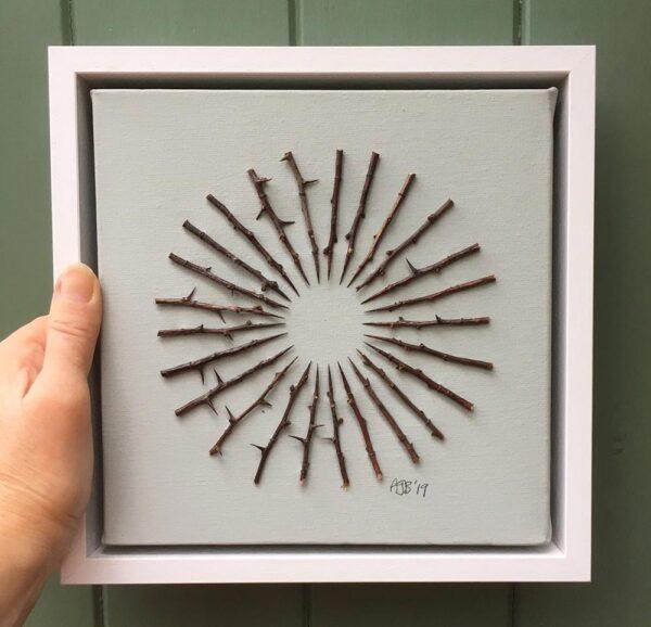 'Thorn Sunrise' Framed collage on canvas 24 x 24 x 5 cms £120.00