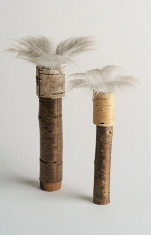 Two cherry bark pots with duck feather rim ht 14 x 2 cms and 12 x 2 cms£38.00 and £32.00