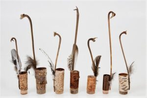 Various bark pots with leaf stalk handles approx ht 30 x w 4 cms £ 28.00